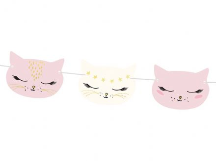 Pink & White Cat Party Garland